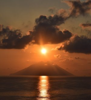Sunset on the Island of Stromboli, Aeolian Islands Sicily